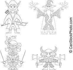 Fantasy heroes, outline, set - Fantasy brave heroes: elf...