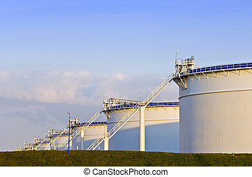 Oil tanks in the evening light