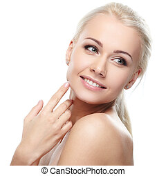 Pure beauty - Young blond lady on white background