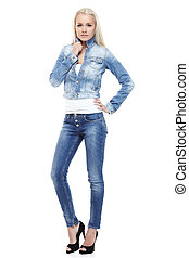 Glamorous woman - Young sexy blond woman in jeans jacket...
