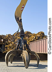 Scrap heap claw - A claw, attatched to a huge crane in front...