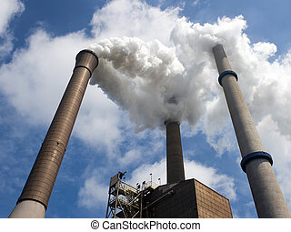 Three Smoke Stacks in perspective - Three smoke stacks,...