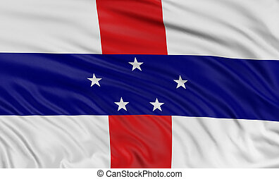3D Netherlands Antilles flag with fabric surface texture...