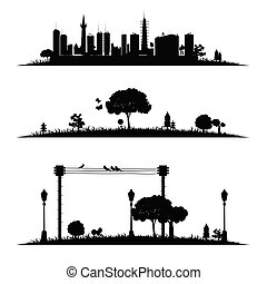 city and nature vector illustration