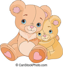 Hugging  bears   - Cute pair of hugging bears