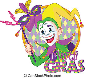 Mardi Gras jester - Cartoon design of Mardi Gras Jester...