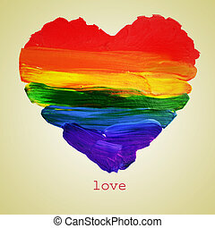 gay love - the word love and a rainbow heart painted on a...