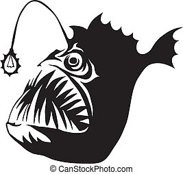 Angler Fish - Angler fish isolated on white background. Logo...