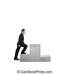 Businessman climbing on podium