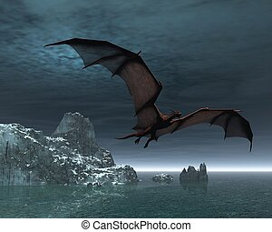 Red Dragon at Night - Red dragon flying over the sea and...