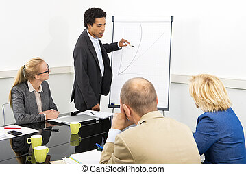 Business course - trainer provides explanation of an...