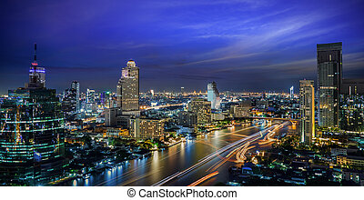 Bangkok City at night time, Hotel and resident area in the...