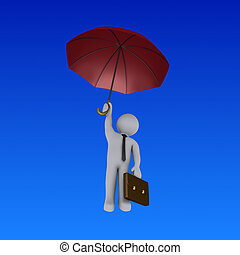 Businessman with umbrella is falling
