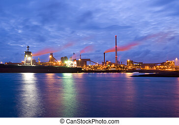 Steel plant at night - The front-end of a steel plant, with...