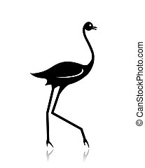 Ostrich sketch black for your design