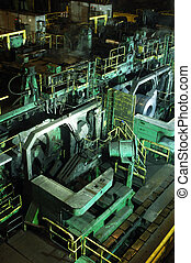 Steel mill - A huge mill in the production of steel sheet on...