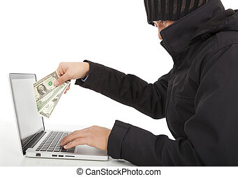 Hacker Steal money from the Internet with laptop - Hacker...