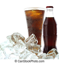 Cola drink with ice on a white background with clipping path