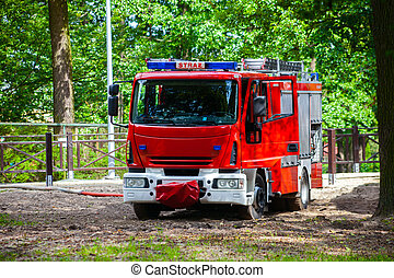 Fire Truck - A fire truck while fetching water. Polish Fire...