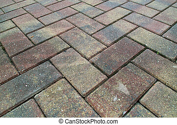 criss cross brick sidewalk - Red and Yellow pavers or bricks...