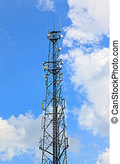 Transmitter tower against a clear blue sky