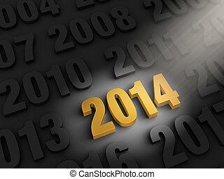 Spotlight On 2014 - A spotlight illuminates a bright, gold...