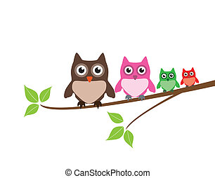 Owls - vector cute owl family