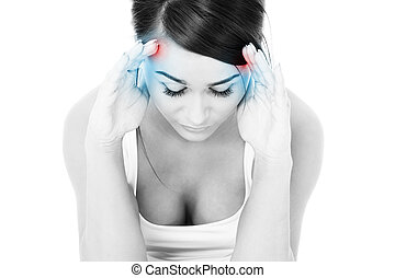 Migraine - A picture of a young woman with severe headache...