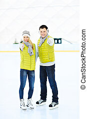 Skating couple - A picture of a young couple having fun on...