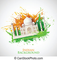Grungy Taj Mahal - illustration of Taj Mahal with Tricolor...