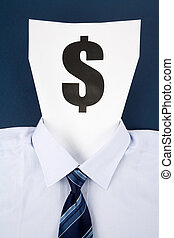 Paper Face and Dollar Sign, Business Concept