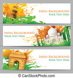 Indian Monument Banner - illustration of set of banner for...