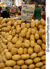 Potatos on the stall in the market, Turkey