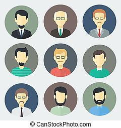 Male Faces Icons Set - Colorful Male Faces Circle Icons Set...