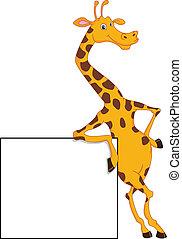 cute giraffe cartoon with blank sig illustration
