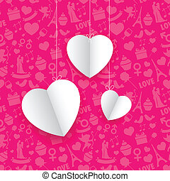 Hanging Heart in Seamless Love Background