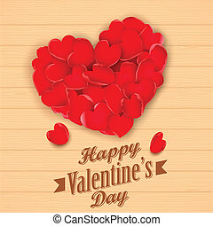 Happy Valentine's Day with rose petal heart
