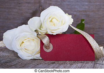 Empty Red Tag with Roses