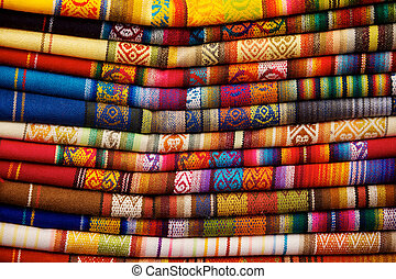 Otavalo Blankets - Colorful blankets for sale in market in...