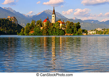 Bled, Slovenia - Beautiful monastery on the island in the...