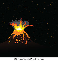 vulcano erupting and night sky in background vector -...