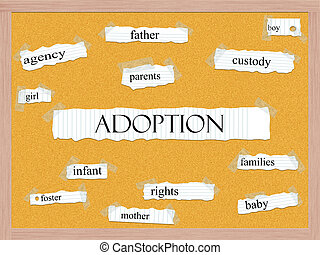 Adoption Corkboard Word Concept