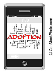 Adoption Word Cloud Concept on Touchscreen Phone
