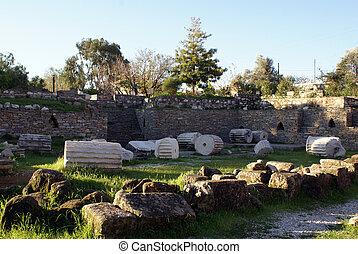 Mausoleum in Bodrum and ruins, Turkey