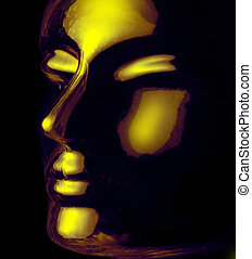 glass head - futuristic science theme showing a opalescent...