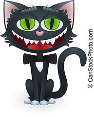 Cartoon Black Cat with Bow Tie