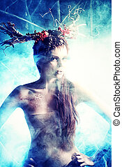 enigma - Art project. Beautiful girl in the image of a wild...