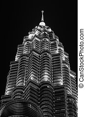 Top of Twin Tower KLCC Night Scene - Malaysia Twin Tower the...