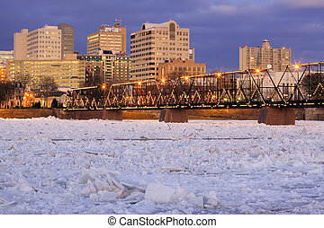 Breaking Ice at Harrisburg - Nighttime view of ice breaking...