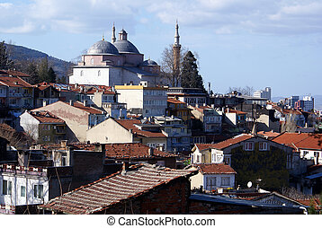 Mosque and houses - Mosque Eshil Jami and houses of Bursa,...